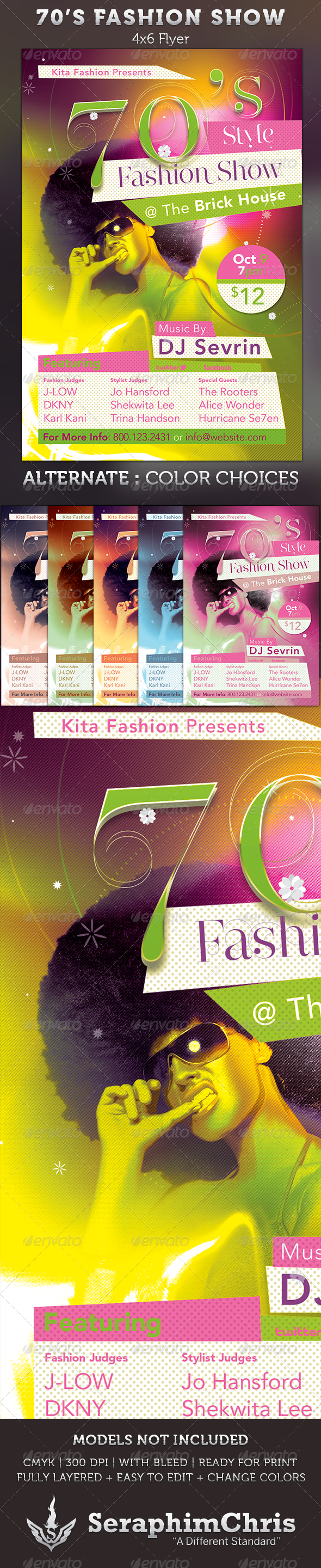 70's Fashion Show Flyer Template - Events Flyers