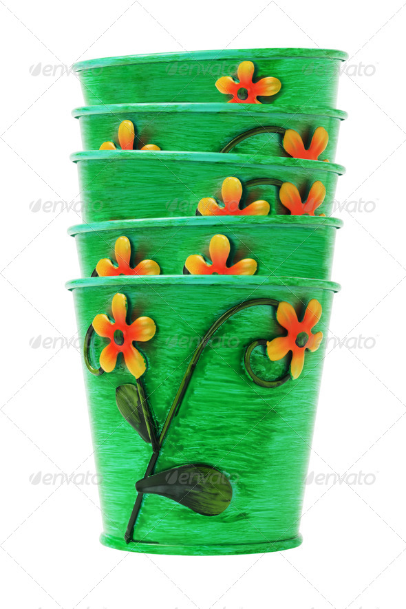 Stack of Colorful Flower Pots - Stock Photo - Images