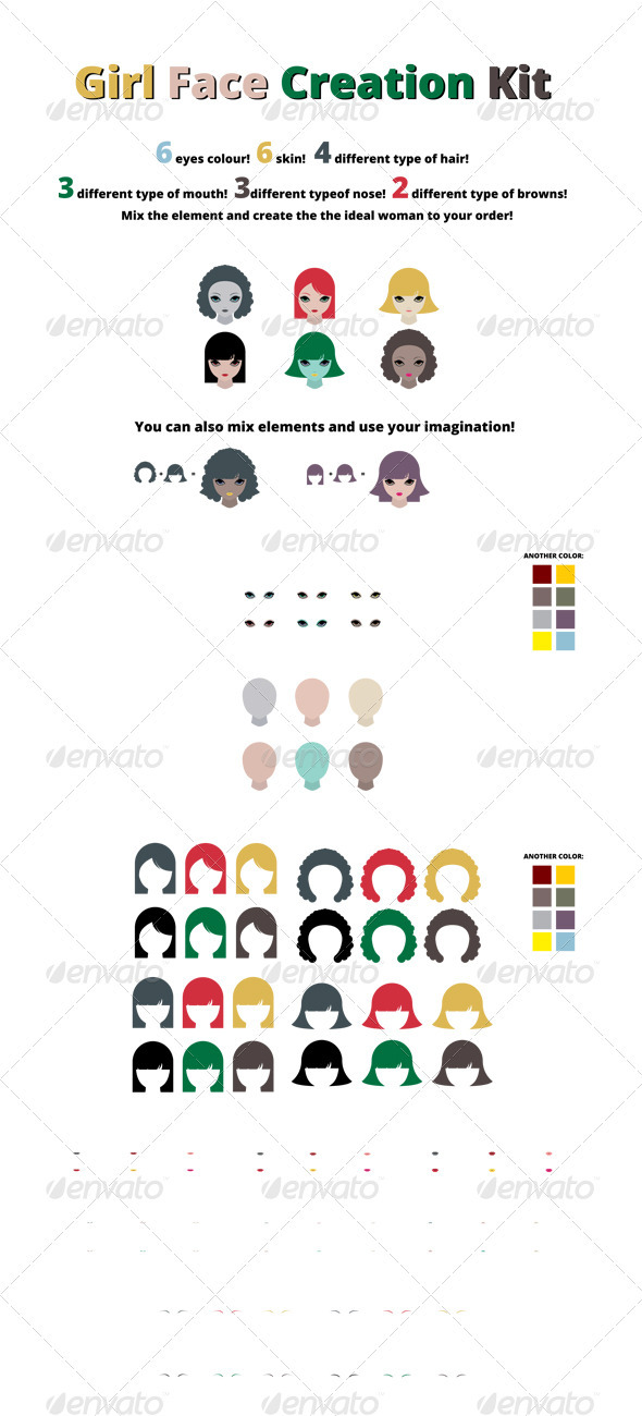 Girl Face Creation Kit - Characters Vectors