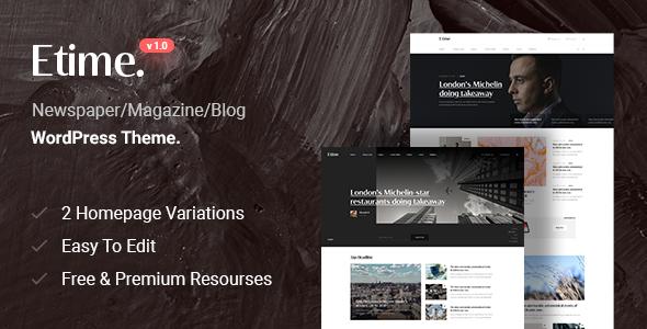 Etime – Blog & Magazine WordPress Theme