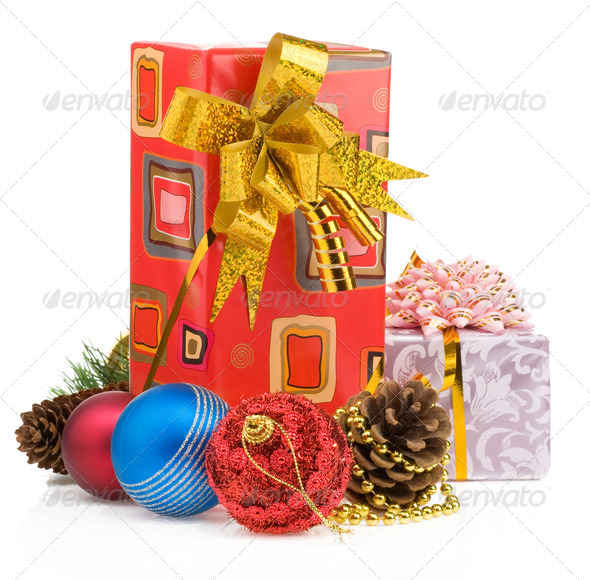 christmas gift box with balls on white - Stock Photo - Images
