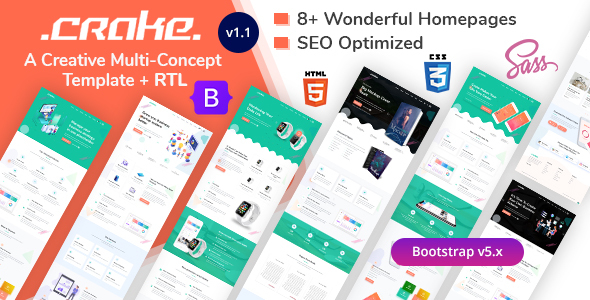Special Multipurpose Business Landing Page HTML Template - Crake