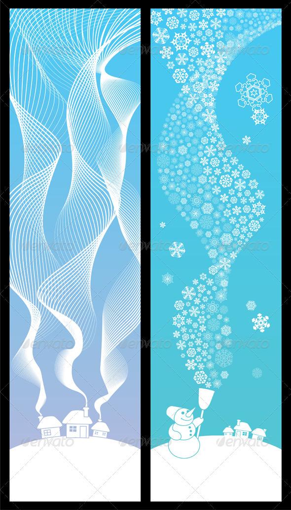 Winter Banners Vertical - Flourishes / Swirls Decorative