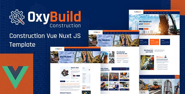 OxyBuild – Vue JS Construction Comapny Template using Nuxt JS