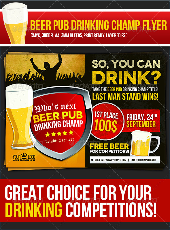 Beer Pub Drinking Champ Flyer - Clubs & Parties Events