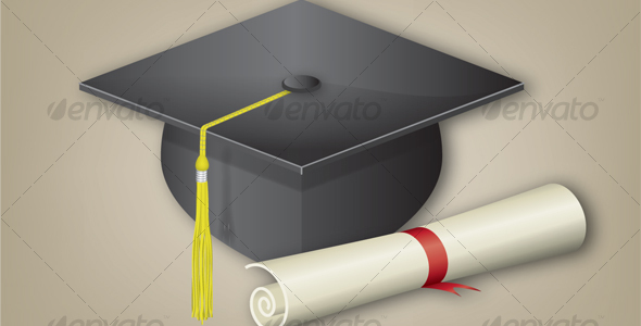 Graduation Cap with Diploma - Man-made Objects Objects