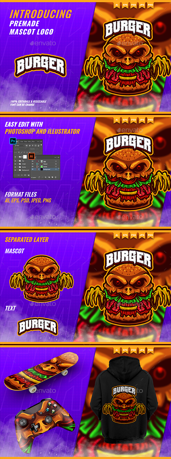 The Burger Monster - Mascot Esport Logo Template