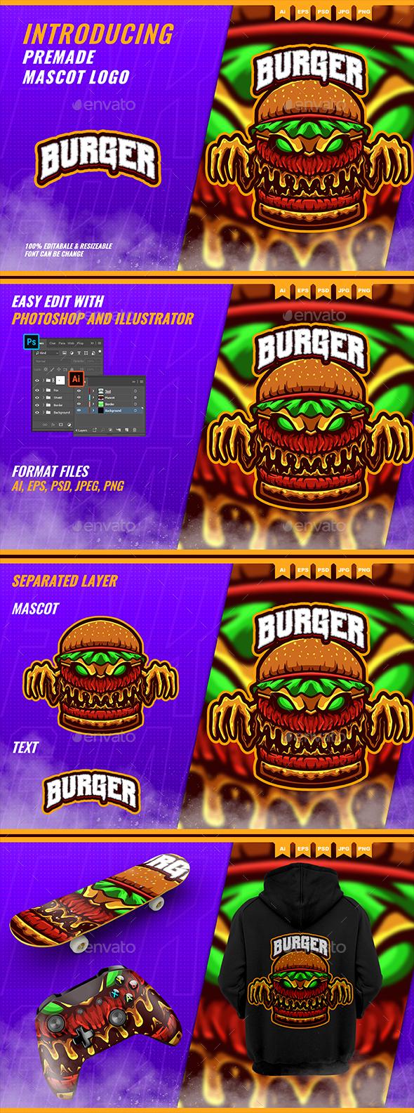 The Burger Monster 2 - Mascot Esport Logo Template