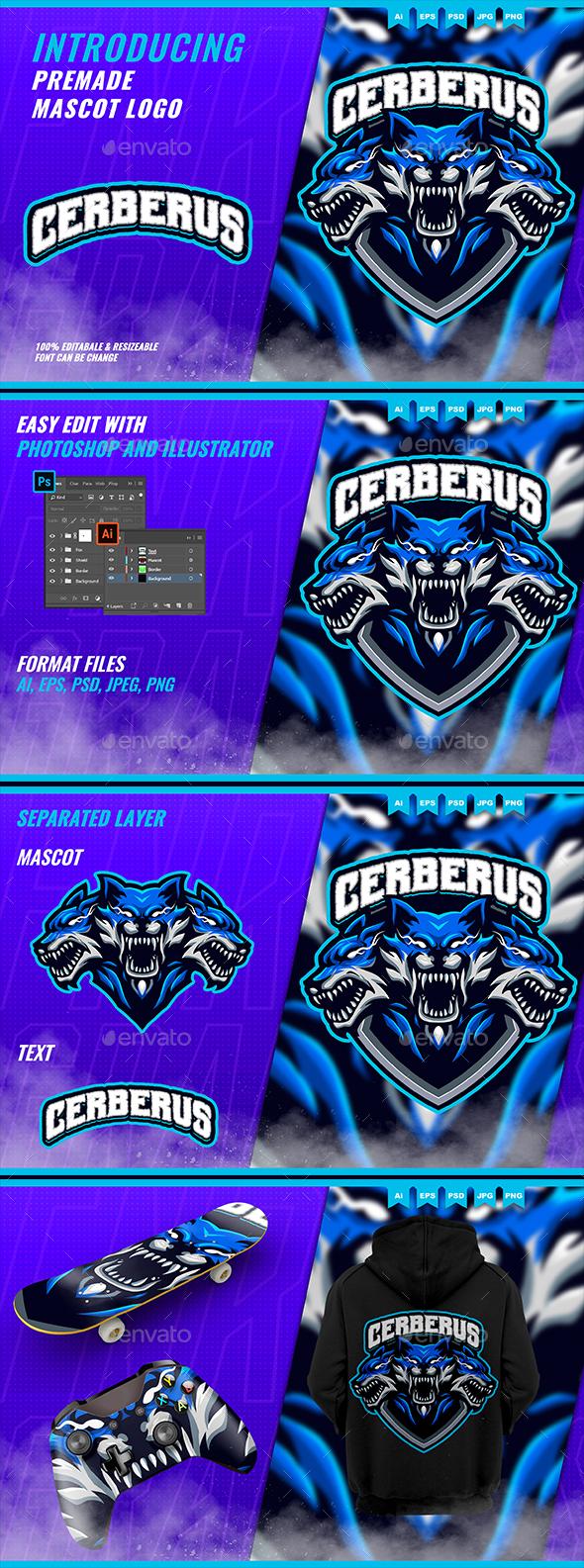 Cerberus Head Hellhound - Mascot Esport Logo Template