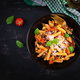 Pasta alla norma - traditional Italian food with eggplant, tomato, ricotta cheese and basil - PhotoDune Item for Sale