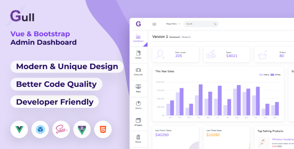 Excellent Gull -  HTML & Vuejs Admin Dashboard Template