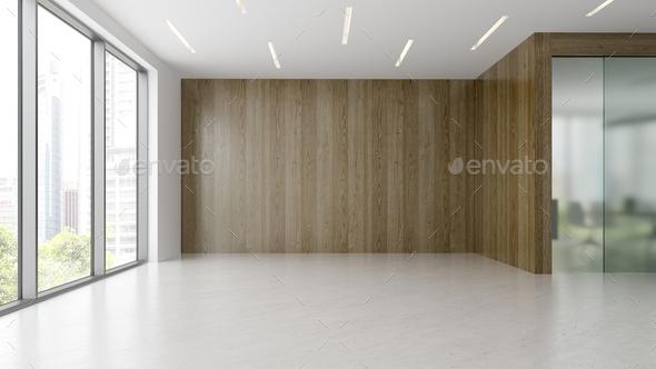 Empty modern office interior room 3d illustration - Stock Photo - Images