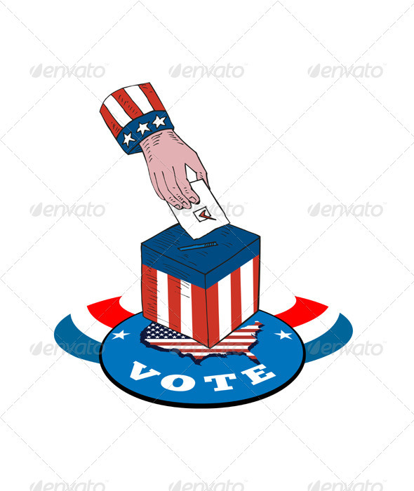 American Election Voting Ballot Box Retro - Man-made Objects Objects
