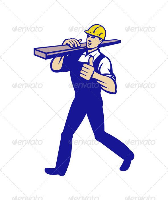 Carpenter Tradesman Carrying Timber Lumber - Industries Business