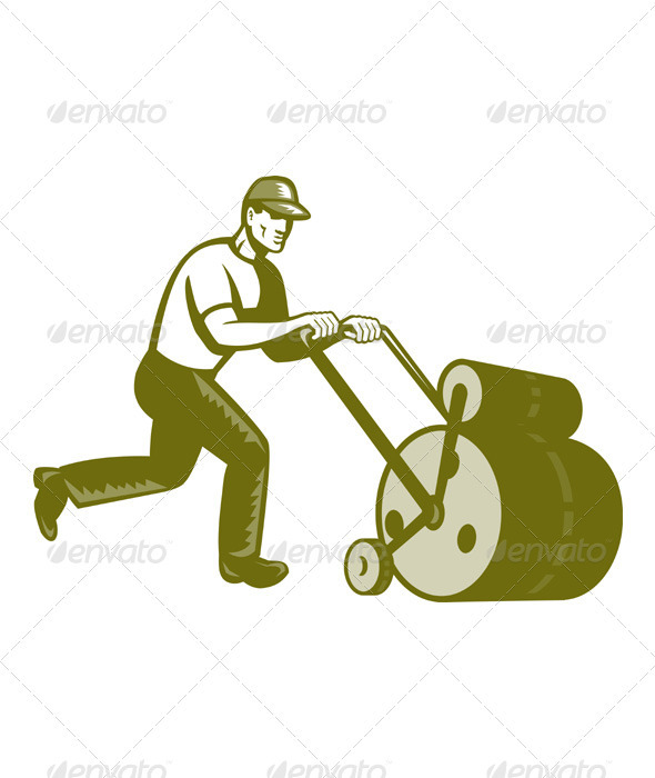 Gardener Landscaper Pushing Lawn Roller Retro - Industries Business