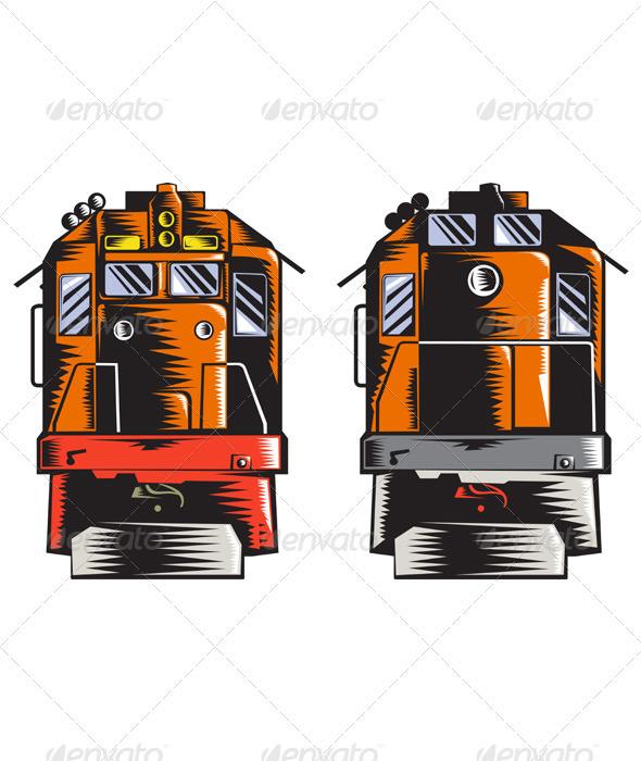 Diesel Train Front Rear Woodcut Retro - Man-made Objects Objects