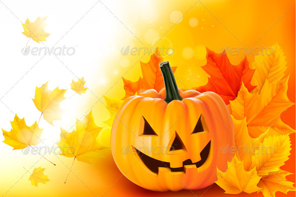 Scary Halloween pumpkin with leaves  Vector  - Halloween Seasons/Holidays
