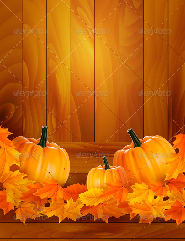 Pumpkins on wooden background with leaves  Autumn  - Seasons/Holidays Conceptual