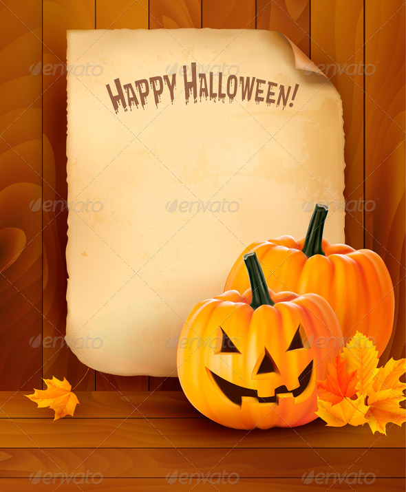 Halloween background with old paper  Vector  - Halloween Seasons/Holidays