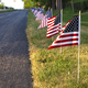 American flags along a walking path on the 4th of July - PhotoDune Item for Sale