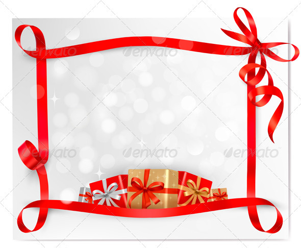 Holiday background with red gift bow with gift box - Christmas Seasons/Holidays