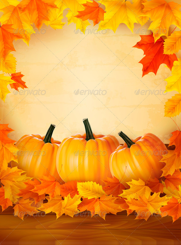 Pumpkins on wooden background with leaves Autumn b - Seasons Nature