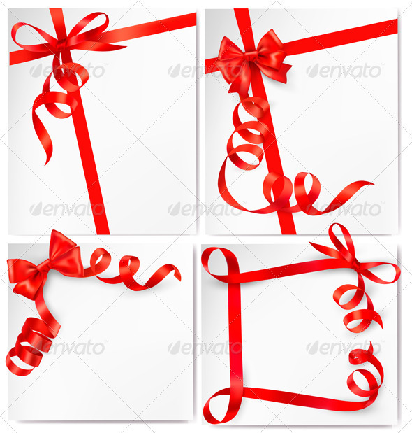 Set of holiday background with red gift bow with r - Backgrounds Decorative