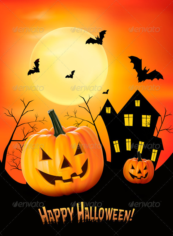 Halloween red background with pumpkins. Vector - Halloween Seasons/Holidays