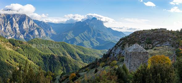 Tella Ermitage and surrounding landscape, Huesca, Spain. - Stock Photo - Images