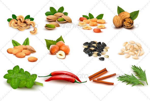 Big set of ripe nuts and seeds and spices - Food Objects