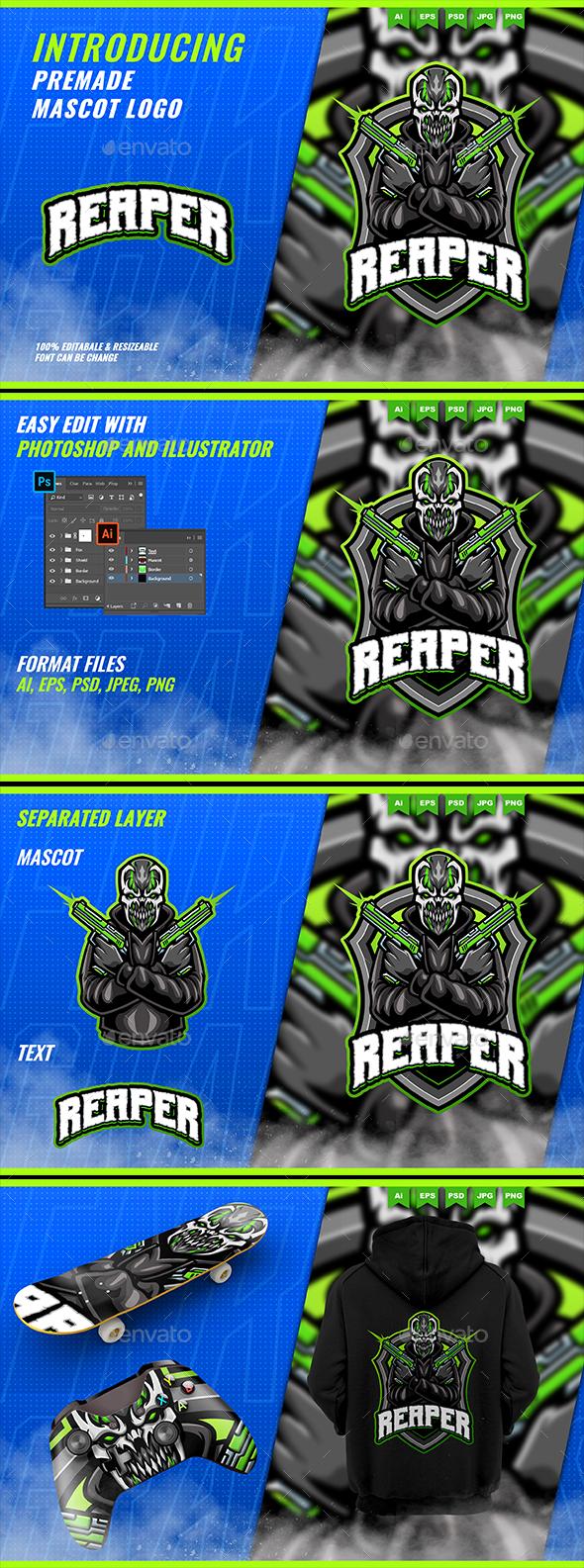 Creepy Shooter Monster - Mascot Esport Logo Template