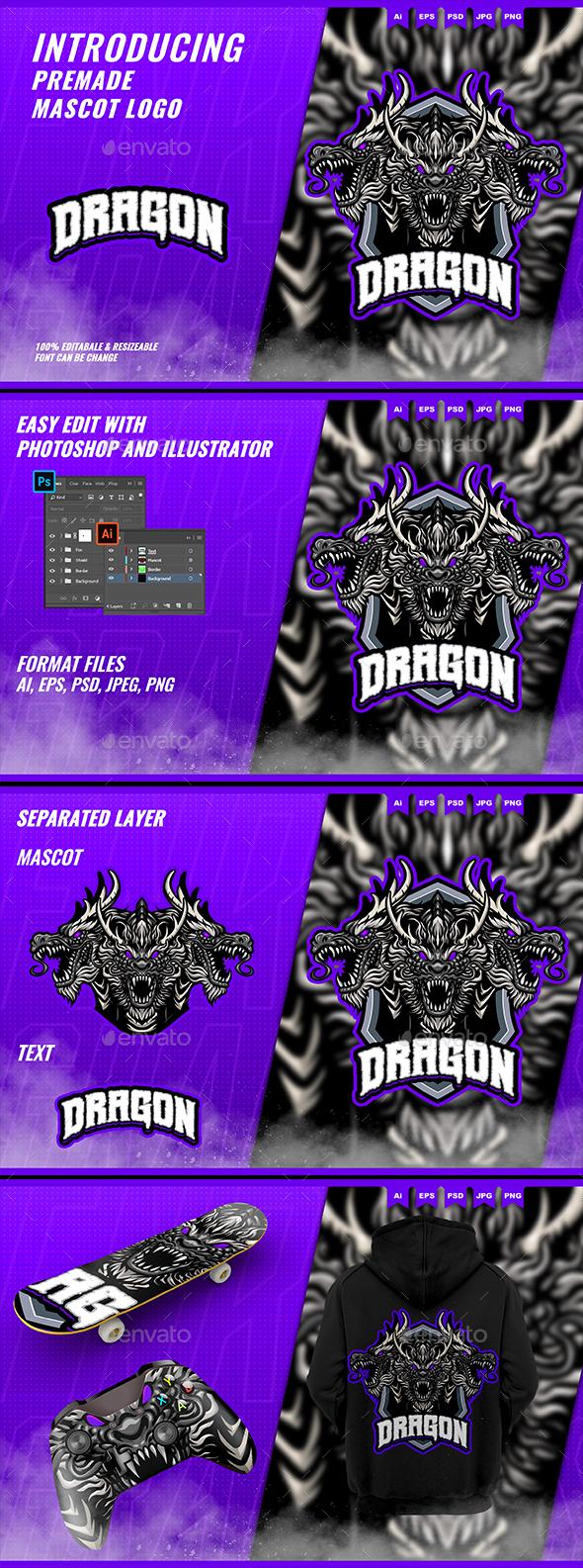 Three Headed Dragon - Mascot Esport Logo Template