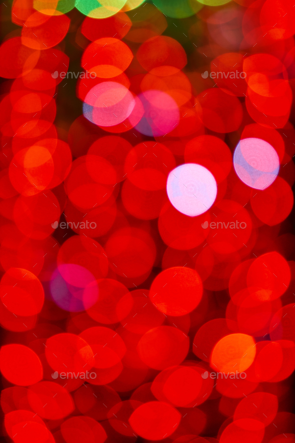 Out of focus red lights in the city night. Colorful background - Stock Photo - Images