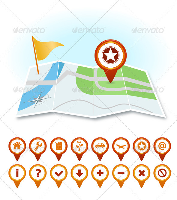 Map With Markers And GPS Icons - Travel Conceptual
