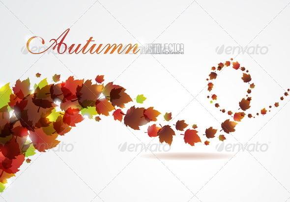 Abstract autumn vector background with fly leafs - Characters Vectors