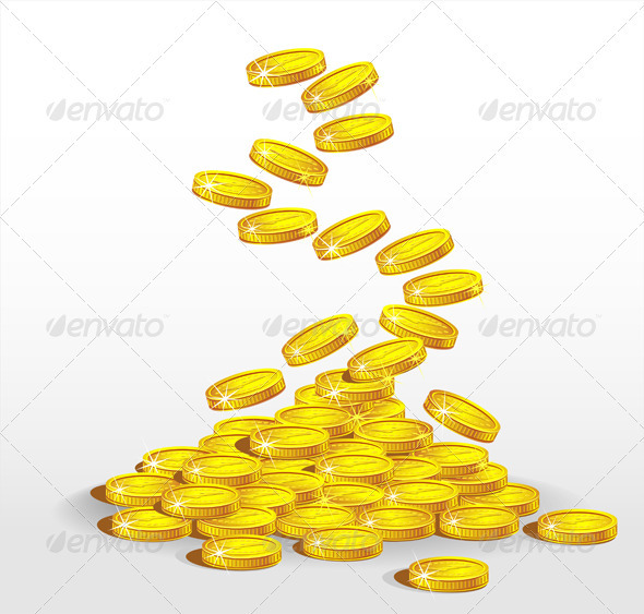 Gold coins spilling. The concept of profit - Business Conceptual