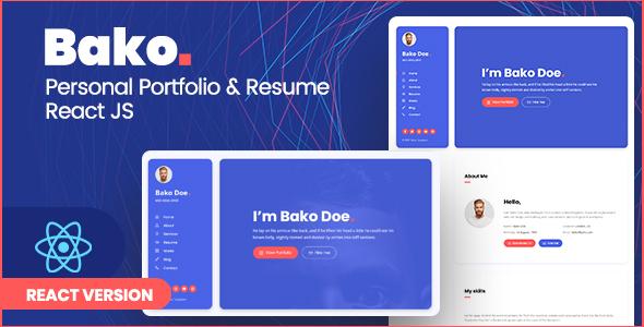 Bako - Personal Portfolio & Resume React Template