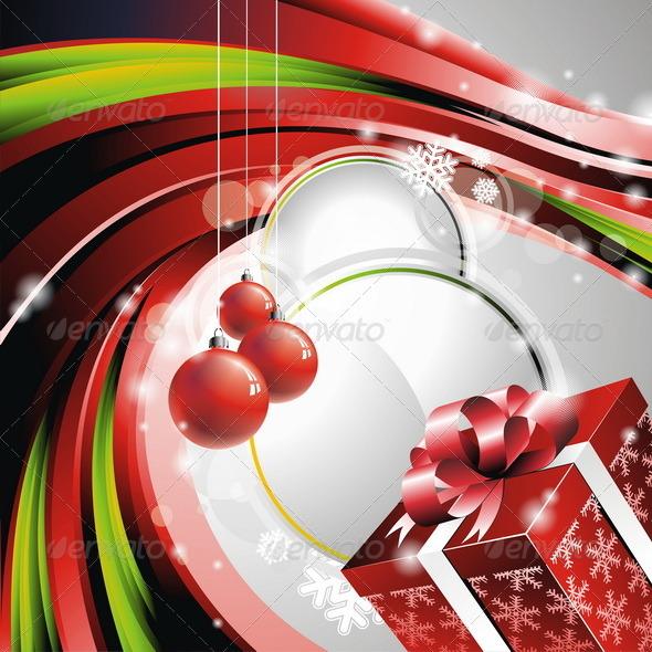 Vector Christmas illustration with gift box. - Christmas Seasons/Holidays