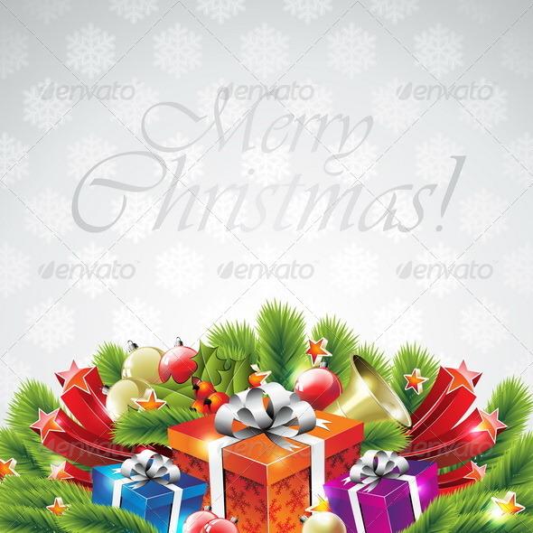 Illustration on a Christmas theme with gift box. - Christmas Seasons/Holidays