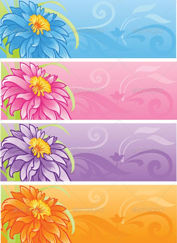 Flowers Banner Set  - Flowers & Plants Nature