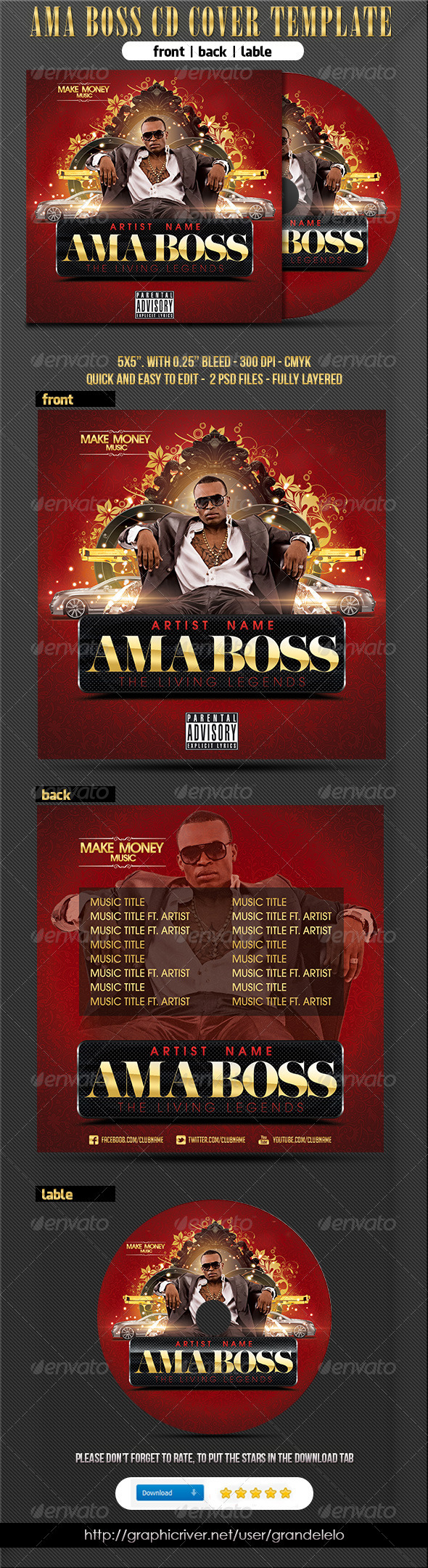 Ama Boss Hiphop Cd Cover Template - CD & DVD Artwork Print Templates