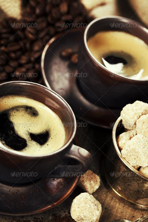 freshly prepared  italian espresso - Stock Photo - Images