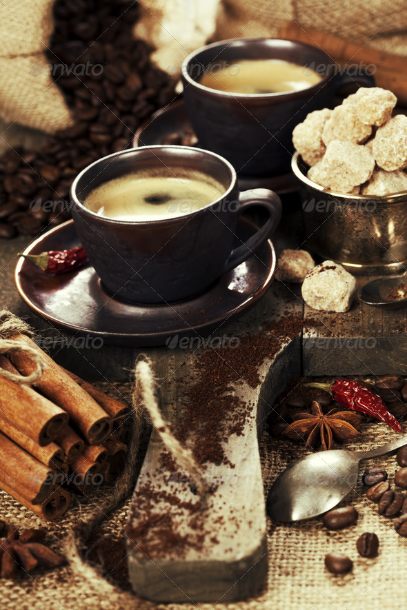 freshly prepared  italian espresso - Stock Photo - Images