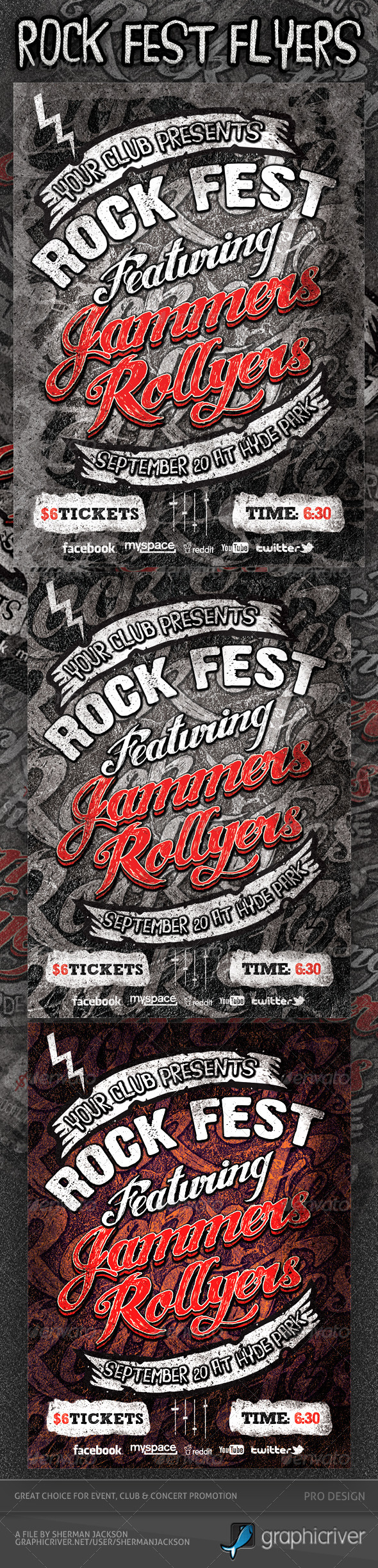 Rock Fest Typographic Flyer PSD Template - Events Flyers