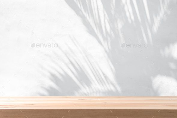 Shadow of plam leave on white cement wall background with copy space - Stock Photo - Images