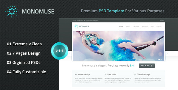 Free Download Monomuse - Premium PSD Template Nulled Latest Version