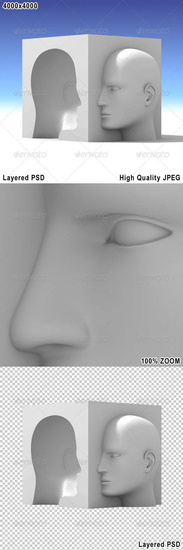 Two Opposite Face - Characters 3D Renders