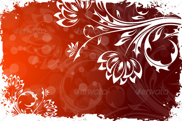 Grungy Floral Background - Flourishes / Swirls Decorative