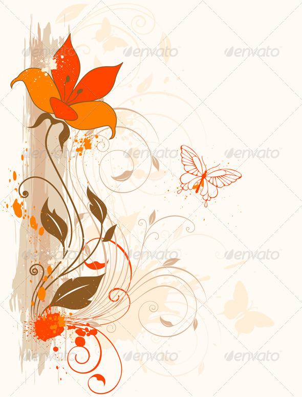 Orange Flower - Flourishes / Swirls Decorative
