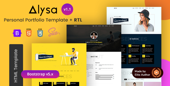 Special Personal Portfolio & Resume HTML Template - Alysa